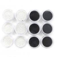 Набор бульонки серебряные - черные,12 шт