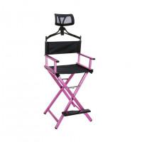 Разборный стул визажиста/режиссерский стул c подголовником (розов.)